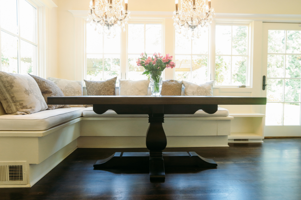weston pedestal table in a kitchen