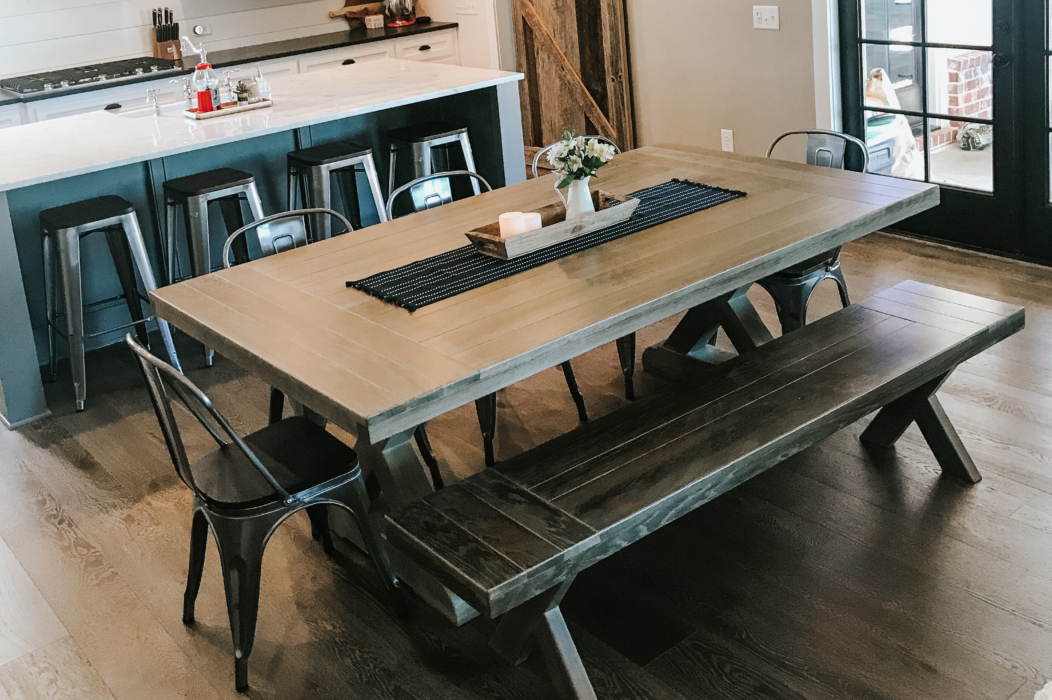 rustic farm table in a kitchen