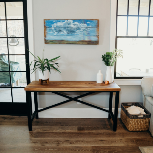 modern industrial console table in home