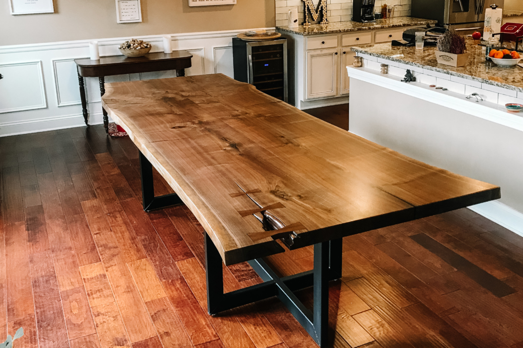 live edge table in a kitchen