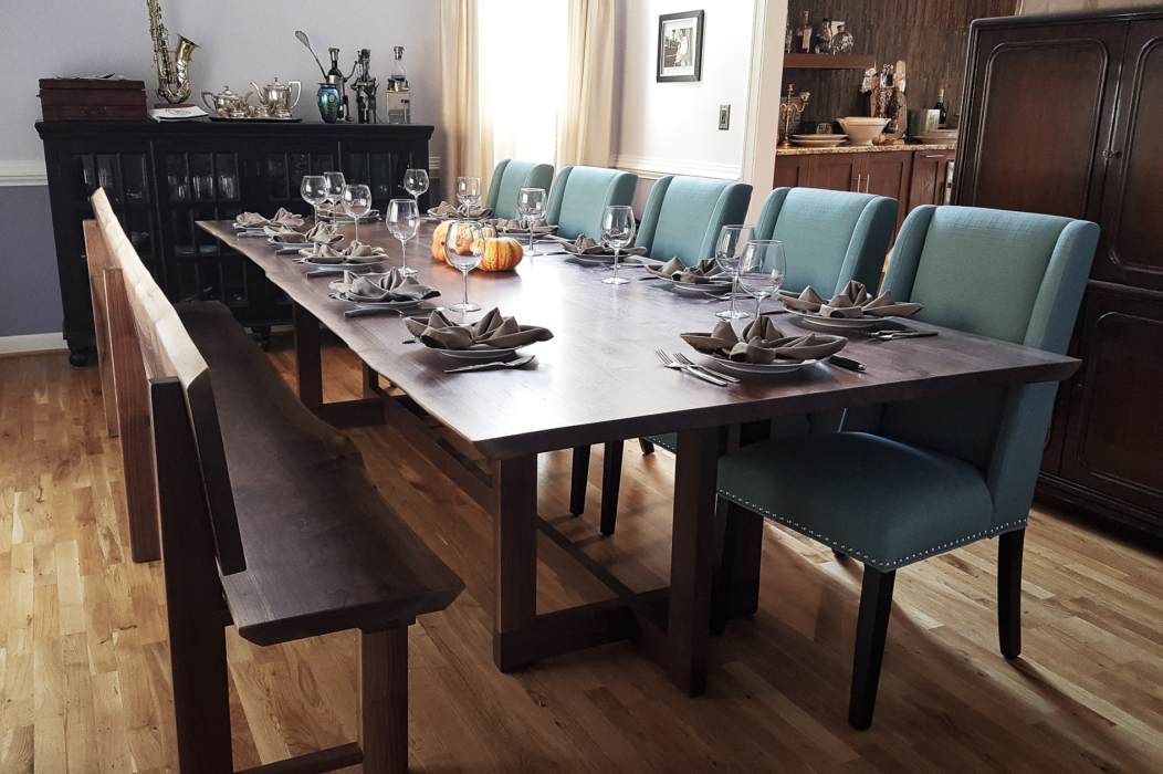 live edge table in dining room with chairs