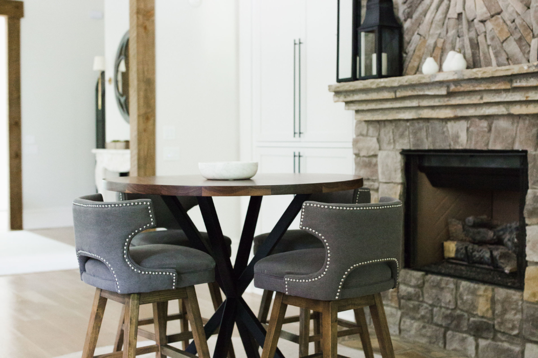 round metal based table in a living room